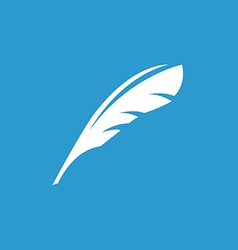 Feather icon white on the blue background vector