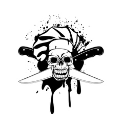Skull in toque and crossed knifes vector