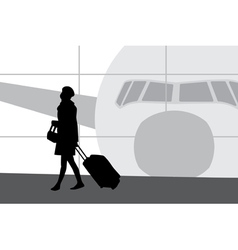 Woman in airport vector