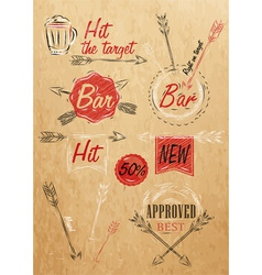 Set emblem of bar boom arrow kraft paper vector