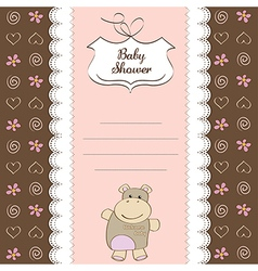Childish baby girl announcement card with hippo vector