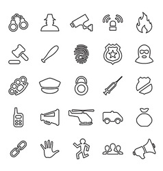 25 outline universal crime justice icons vector