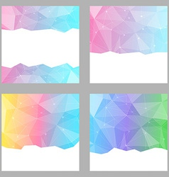 Modern crystal structure bright backgrounds set vector