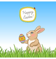 Happy easter card grass vector