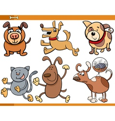 Dogs characters cartoon set vector