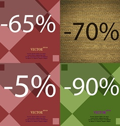 70 5 90 icon set of percent discount on abstract vector
