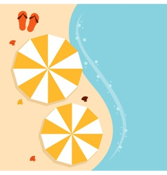 Beach summer background with umbrella vector