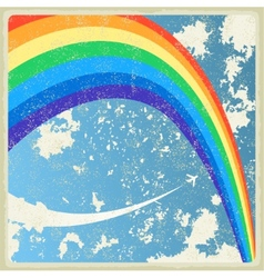 Vintage background with plane and rainbow vector