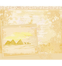 Old paper with pyramids giza vector