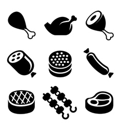Meat icons set vector