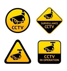 Video surveillance set signs vector