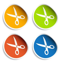 Scissors stickers vector