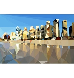 Low poly beach and city background vector