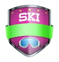 Ski shield badge vector