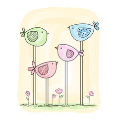 Cute painted birds in watercolor style vector