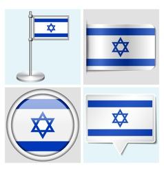 Israel flag - sticker button label flagstaff vector