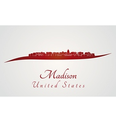 Madison skyline in red vector
