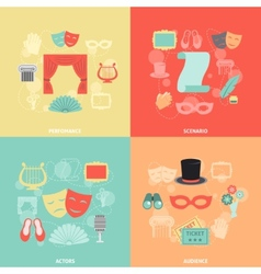 Theatre icons flat vector