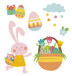 Spring easter set with rabbit vector
