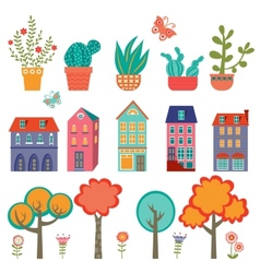 Colorful cute city collection - plants houses and vector