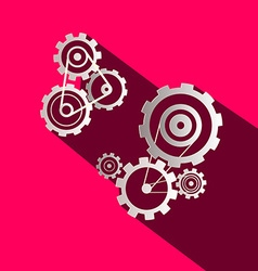 Flat design paper cogs - gears on pink background vector