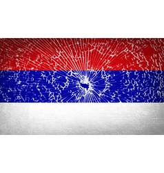 Flags republika srpska with broken glass texture vector