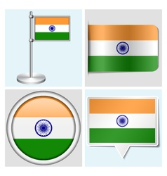 India flag - sticker button label flagstaff vector