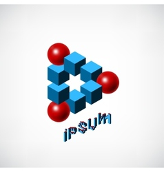 Blue cubes and red ball logo vector