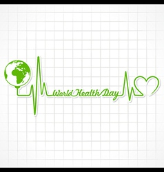 Creative world health day greeting with heartbeat vector