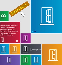 Door enter or exit icon sign metro style buttons vector
