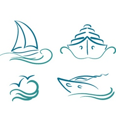 Yachting symbols vector