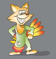 Fox cartoon with cock mask vector