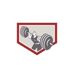 Weightlifter lifting barbell shield retro vector