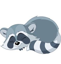Sleeping cartoon raccoon vector