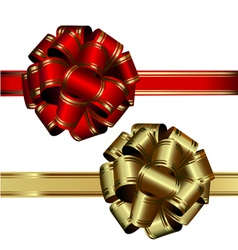 Set of two bows red and gold on a white background vector