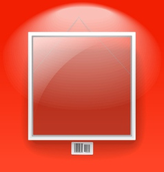 Glass board with white frame on a red wall vector