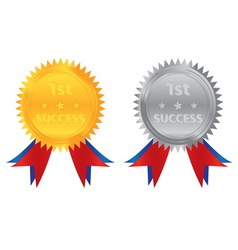 1st success gold silver coin vector