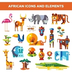 Set of flat design african icons and infographics vector