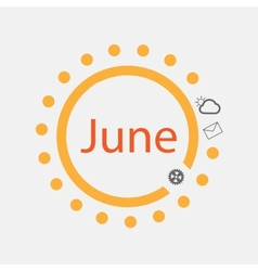 Sun symbol with june text inside vector