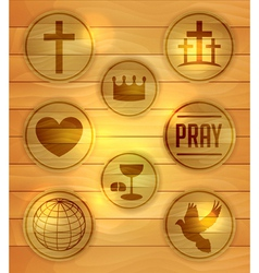 Wooden religious icons and badges vector