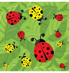 Seamless bugs and leaves vector