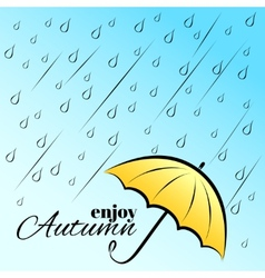Enjoy autumn under umbrella vector