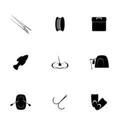 Fishing icon set vector