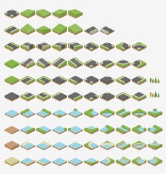 Isometric road tiles vector