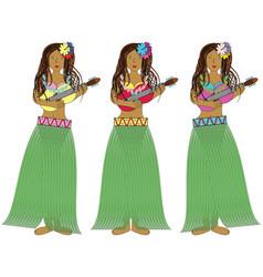 Hawaiian hula girls with guitars vector