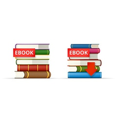 Ebook books stacks icons vector