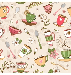 Seamless background of tea cups and spoons vector