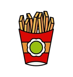 French fries in a red package vector