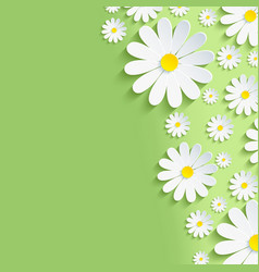 Spring green nature background with chamomile vector