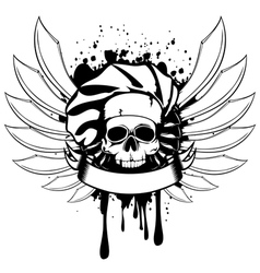 Skull of cook with knifes vector